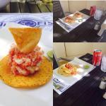 tostada pescado, taco de pescado