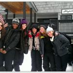 My friends and I outside the lodge with Liz!