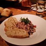 Appetizer, fresh tuna, black eye peas, olive oil herbs...