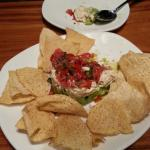 Avocado, crab, tomato and basil, and wassabi dressing, served with chips....Yumy!!!!!