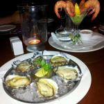 Delicious oysters and prawns to start
