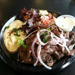 Lamb and beef shawarma lunch plate