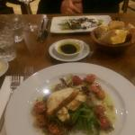 Starters: grilled halloumi and veal grapaccio