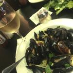 Mussels in Wine & Garlic Sauce over Linguini