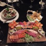 Sushi platter, lobster salad and prawns