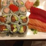 California roll, salmon w/avacodo roll & sushimi appetizer