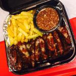 Rib tips, bbq beans and fries