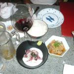 Tuna with yam, fried mackerel in wine vinegar