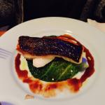 Grilled Cod on green cabbage