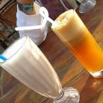 Banana milkshake & oxidized Apple juice