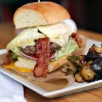 Brunch burger with egg and bacon