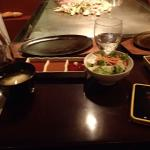 miso soup, sauces and salad