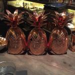 Pineapple drink in copper pineapple -