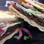 Thai Beef Sandwich served on Naan Bread