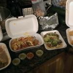 Our super Yummy feast! Ranchera bistek, sonoran dogs and carnitas tacos, with hand made corn tor