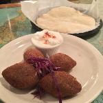 Appetizer: Kibbeh, yogurt sauce and fresh baked pita bread.