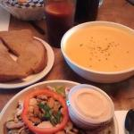Best mother-daughter lunch we had.Garden salad and the soup of the house.