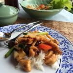 Stir-fried chicken with cashew nuts and mushroom