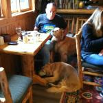 My friend Russ at breakfast with his furry friends