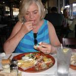 Claudia Wilczynski loves shrimp at Aurelio's
