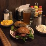Pastrami sandwich, potato salad, Mac n cheese with Stone Brewing IPA