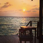 sunrise from Jacuzzi water villa