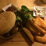 Amazing Tollgate Burger, hand cut chips.