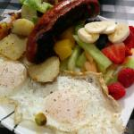 Sausage and over easy eggs