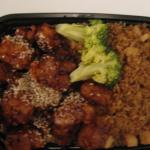 C16 Sesame Chicken with Fried Rice and Egg Roll $6.95