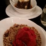 Sticky toffee and DF crumble with sorbet