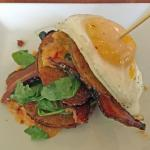 Fried green tomato stack topped with an egg!