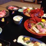 晩御飯は、部屋食で伊勢エビと松阪?牛