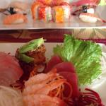 My sashimi plate, omg.  Couldn't even finish it. Salmon (like butter), shrimp, octopus (so meaty
