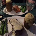 Stake & Salmon and twice baked potatoes