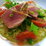Tuna on basil risotto