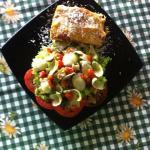 Lasagna con ensalada