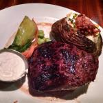 14oz rodeo steak with loaded baked potato