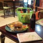 burger and table