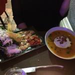 Soupe potiron et caropaccio saumon