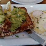 Avocado Toast with basted eggs.