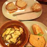 chicken soba noodle bowl, smokehouse turkey sandwich, and half of bacon turkey bravo sandwich.