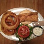 Fried Fish Sandwich with Onion Rings