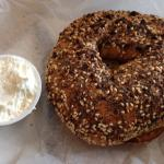 Honey Whole Wheat Everything Bagel -- HUGE & delicious