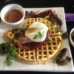 Montana Waffles with Bacon, Eggs, Mushrooms & Maple Syrup for Breakfast anyone?