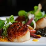 Seared Sea Scallops with  pearl lentils, petite carrots, & habanero yogurt