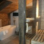 Badezimmer mit Sauna Alm-Chalet