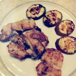 meat dish with aubergine, perfectly grilled