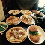Fish cakes, White pizza, Lasagna, Garlic mushroom ciabatta, Calamari and Tuscan chicken.