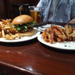 Hamburger and wings