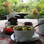 eating in the garden